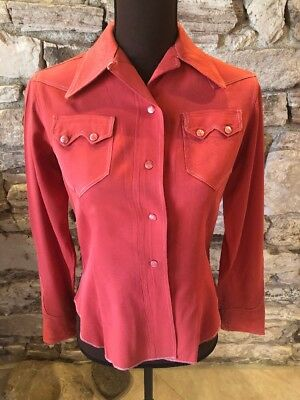 Vintage 1940s Light Raspberry Colored Western Gabardine Cowgirl Shirt Size S