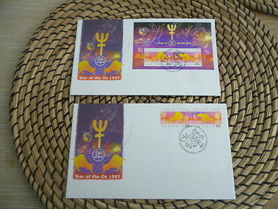 christmas island fdc 1997 x 2 year of the Ox set and mini sheet
