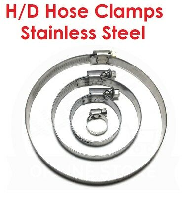 HEAVY DUTY - Hose Clamp Worm Drive Stainless Steel - Sizes between: 11-130mm