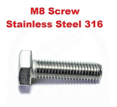Hex Set Screw M8 (8mm) Metric Coarse Bolt Marine Grade 316 Stainless Steel