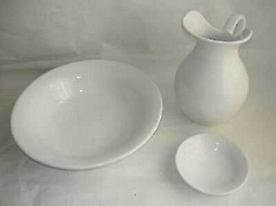 Set TOILET bowl pitcher saucer ceramics MADE IN FLORENCE DECORATION WHITE