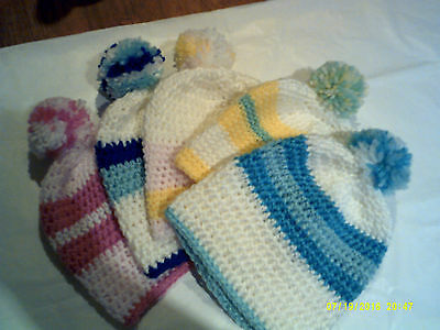 Baby beanie 0-3 mths..crochet..colour choice..set postage cost for up to 5 NEW..