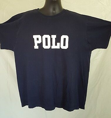 Vtg Polo Ralph Lauren T Shirt Spell Out Chest Navy Blue Lo Life Made USA Mens XL