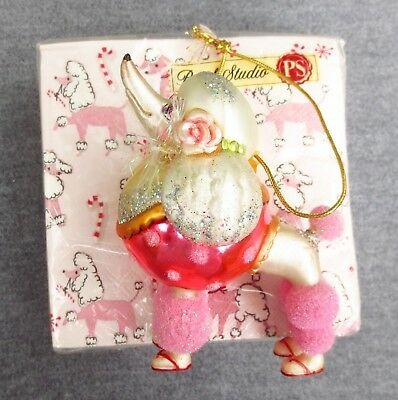 Glittery Pink Poodle Wearing Shoes & A Rose Ornament & Poodle Cocktail Napkins