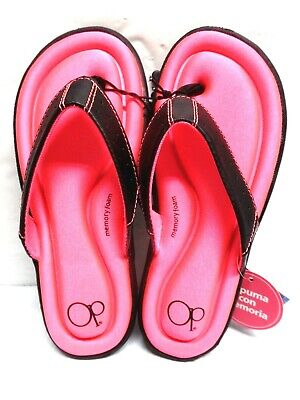 39866d175 OCEAN PACIFIC GIRLS MEMORY FOAM FLIP FLOPS Small Size 11-12 COLOR PINK SHOES