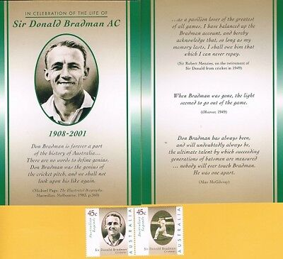 2 Sir Donald Bradman Celebration Of Life Cards & Pair Stamps Mint *free Post