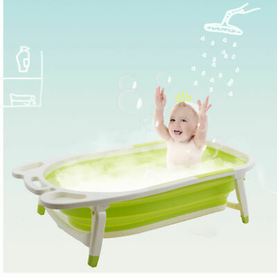 Green Baby Folding Bathtub Infant Collapsible Portable Shower Basin w/ Block
