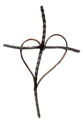(Silver) - Decorative Wall Cross with Heart, Cast Iron Metal, 33cm (Silver)