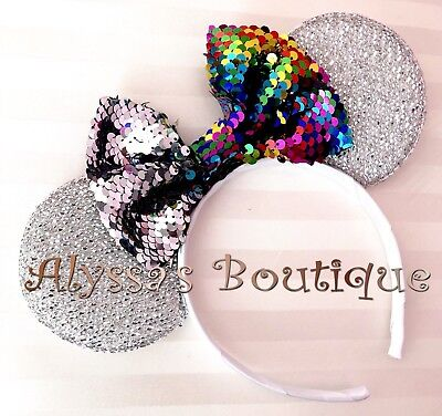 **NEW** Minnie Mouse Silver Ears Headband Flip Sequin Color Changing Bow Rainbow