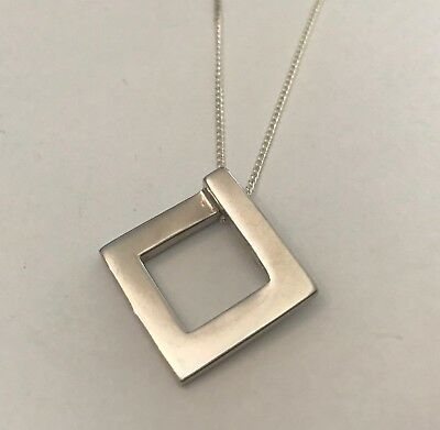 4 x Sterling Silver Square Slider Pendants with Chains