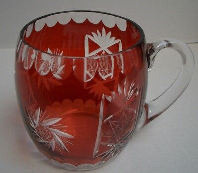 Large Ruby Etched Crystal Mug, Bohemian Style, Perfect Present, GUC