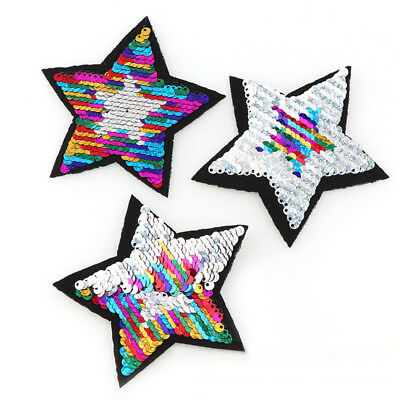 2PC Sequins Change Color Iron On/Sew On Patches Badge Hat Fabric Clothes Craft