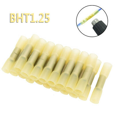 100 Heat Shrink Butt Wire Crimp Connectors Electrical Terminal Yellow 12-10 Awg