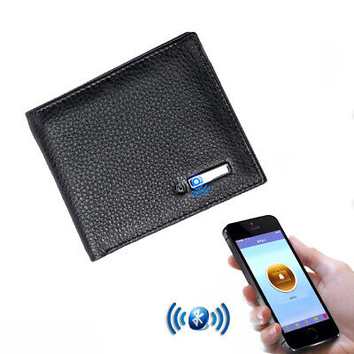 Genuine Leather Anti-Lost Bluetooth Smart Wallet Cards Holder GPS Map Locator