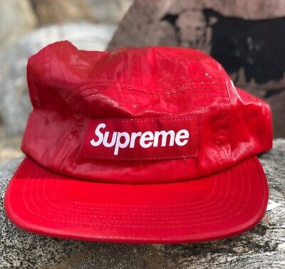 Supreme Coated Linen Camp Cap Red White SS18 Box Logo Strap Hat Accessory bd7ef1deebbb