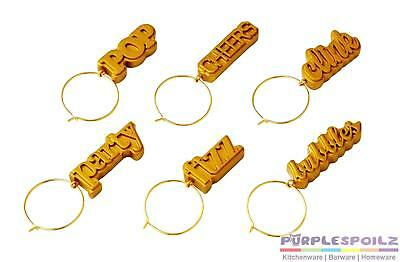 NEW ANNA GARE COCKTAIL HOUR WINE CHARMS Champagne Markers Name Tags SET 6