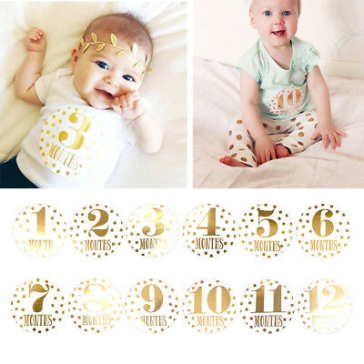 Pregnant Women Monthly Baby Photograph Sticker Fun Month 1-12 Milestone Stickers