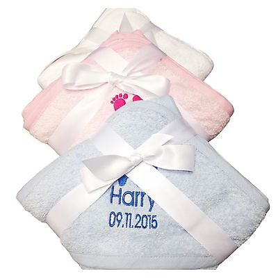 Embroidered Personalised Hooded Baby Towel New Baby