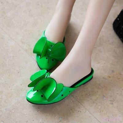 e5e0e6093d920 HOT WOMEN'S MULES Shoes Pumps Slip On Low Heel Round Toe Bowknot Patent  Leather