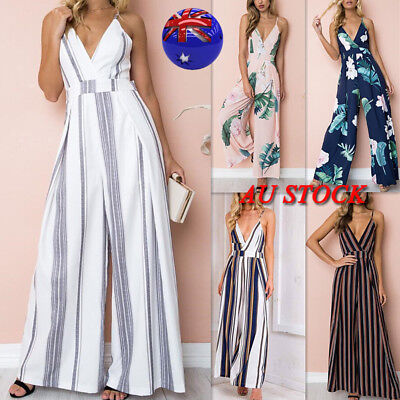 Women V Neck Sleeveless Wide Leg Jumpsuit Backless Long Pants Party Beach Romper