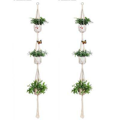 3 Tier Macrame Plant Hanger Hanging Planter Basket Hemp Rope Braided Planting