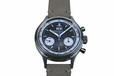 Seagull mvt Flieger Pilot WristWatch Mens Heated Blue Sapphire B-Uhr Chronograph