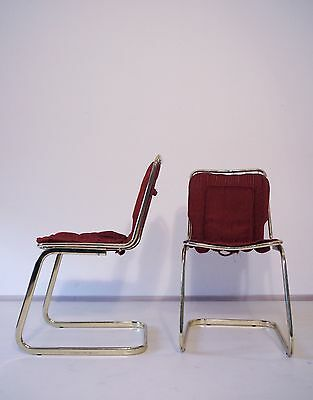 2 VINTAGE MODERNIST 1970s ITALIAN BRASS PLATED METAL DINING CHAIRS RIZZO ERA