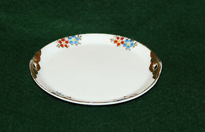 Exquisite Porcelain Pin Trinket Dish Gold Handles And Outlined Flowers