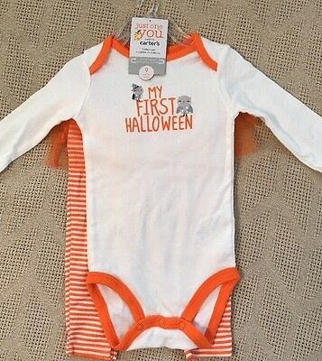 """Carter's """"My First Halloween"""" 2 Pc Costume Outfit Set Girls 9 Mos C52 - NWT Owls"""