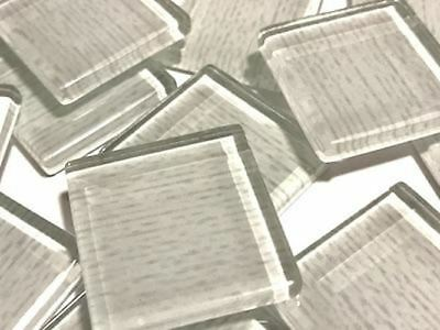 White Textured Handmade Glass Tiles 2.5cm - Mosaic Tiles Supplies Art Craft