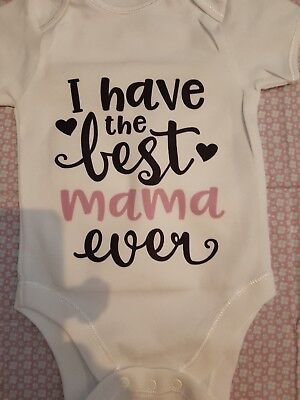 Custom personalised baby vest/romper/body suit (Best mama ever ) Newborn
