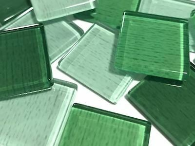 Green Fine Textured Handmade Glass Tiles 2.5cm | Mosaic Tiles Supplies Art Craft