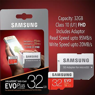 Samsung 32GB 95MB/s Memory Evo Plus Micro SD Carded with Adapter