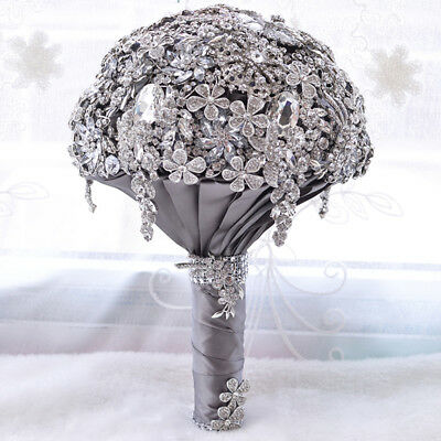 Luxury Shiny Bridal Wedding Bouquet Rhinestone Crystal Brooch Rose Flower NEW