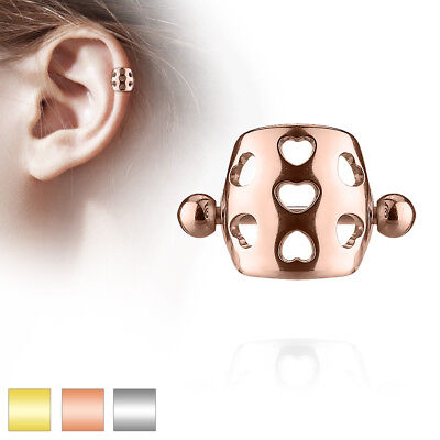 Hollow Hearts Cartilage Helix Cuff Barbell 316L Surgical Steel