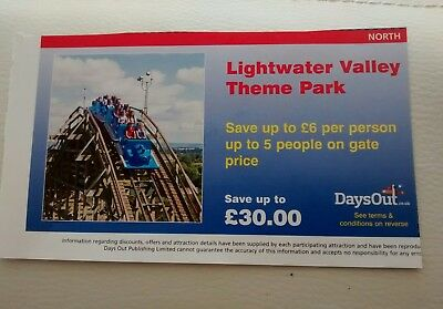LIGHTWATER VALLEY THEME PARK VOUCHER Save £6 per person for up to 5 people. 4/11