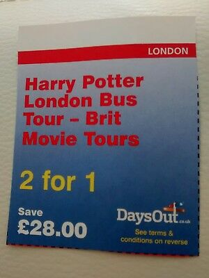 Harry Potter London Bus Tour 2 for 1 entry voucher. Save £28. Until 30/4/19