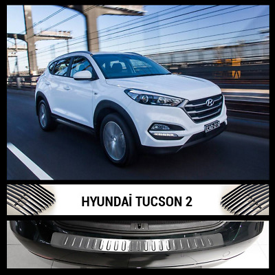 Hyundai TUCSON II Rear Bumper Chrome Cover / Protector Stainless Steel 2015 >