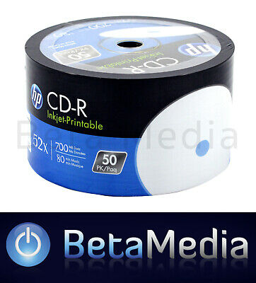 50 HP Blank CD-R - White Inkjet Full Hub Wide Printable 52X 700MB CD Disc