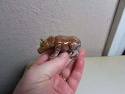 Rhino, Hand carved Stone from Andes of Peru Rich Hued Stone Rhinoceros Unique