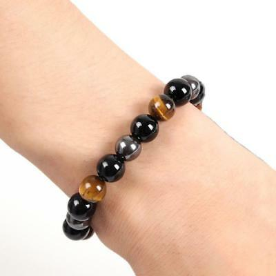 Natural Tiger Eye Stone Lucky Bless Beads Men Woman Jewelry Bracelet Bangle~