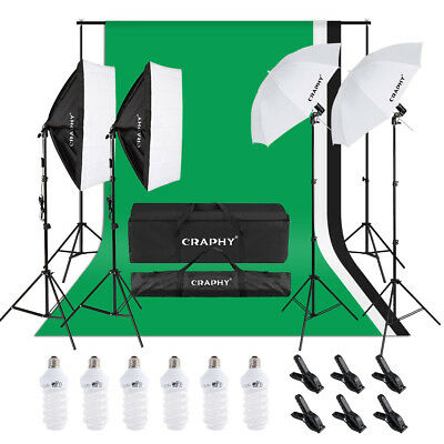 Craphy 1.8M x 2.8M/5.9ft x 9.2ft System + 6*45W Umbrellas Softbox Lighting Kit