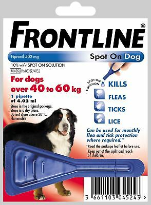 Frontline Spot On Flea For XL Large Dogs 40 - 60 kg - 1 pipette - 1st Class -
