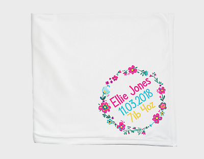 Personalised Birth Announcement Baby Blanket Custom Baby Gifts New Baby Blue