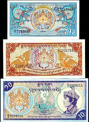 Bhutan 1985/1986 - 1, 5, 10 Ngultrum , Banknote set of 3 UNC