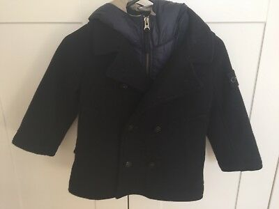 Stone Island Junior Boys Wool Coat/Jacket With Removable Hood Age 3 Gorgeous!