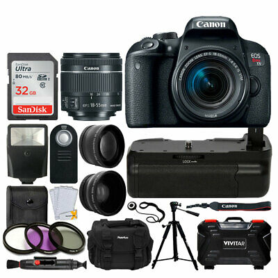 Canon EOS Rebel T7i DSLR Camera + EF-S 18-55mm Lens + Battery Grip + 32GB Card