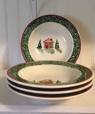 TRE CI~MADE IN Italy~ Christmas Cabin Soup / Cereal Bowls Set Of 4 ...