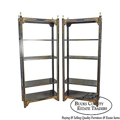 Drexel Heritage Et Cetera Black Lacquer Pair of Asian Influenced Bookcases