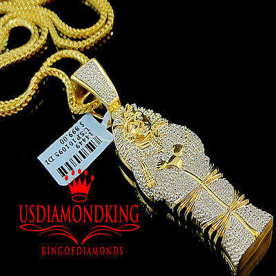 Genuine Diamond Egyptian Pharaoh King Tut Mummy Pendant 10k Yellow Gold Finish